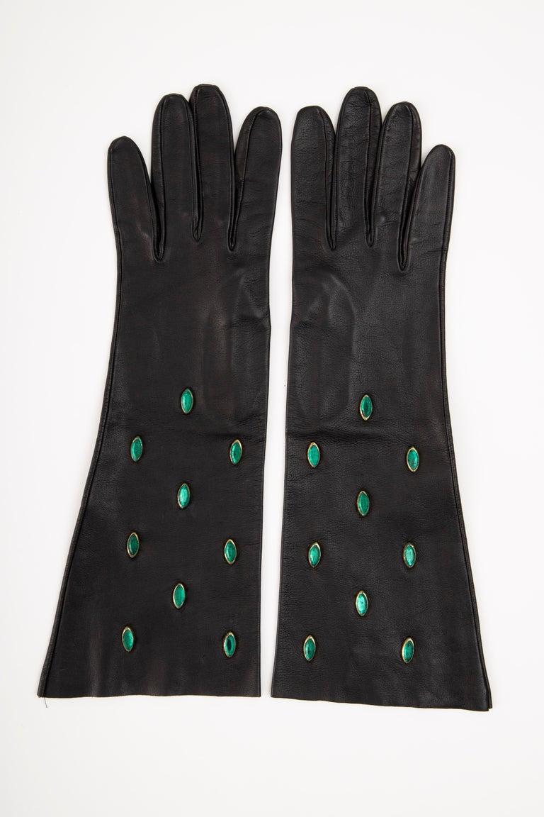 Women's Yves Saint Laurent Black Leather & Appliquéd Green Glass Gloves, Circa: 1980's For Sale