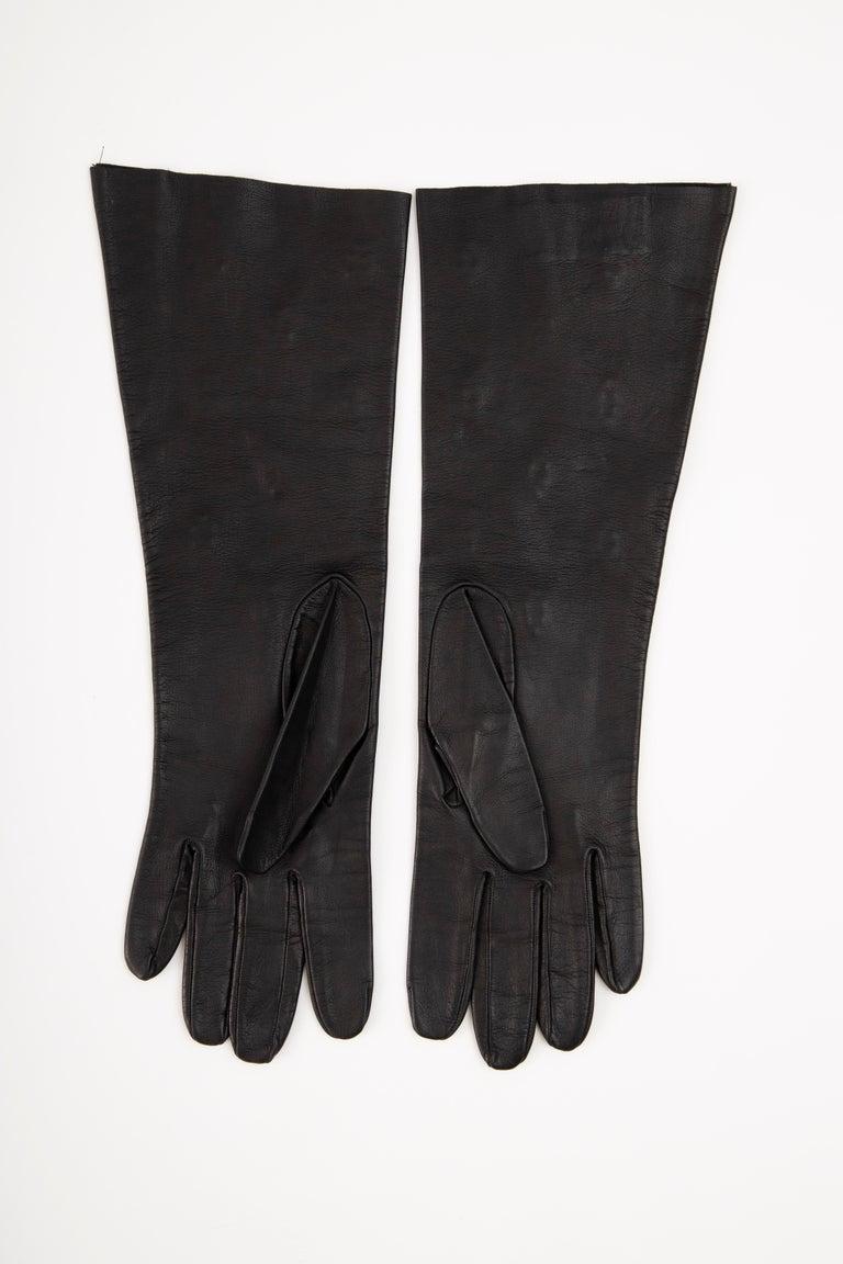 Yves Saint Laurent Black Leather & Appliquéd Green Glass Gloves, Circa: 1980's For Sale 1