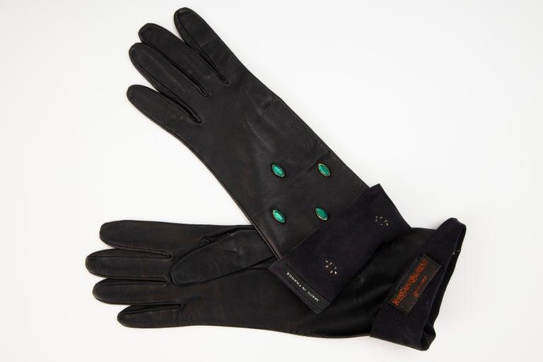 Yves Saint Laurent Black Leather & Appliquéd Green Glass Gloves, Circa: 1980's For Sale 2
