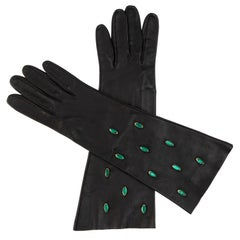 Yves Saint Laurent Black Leather & Appliquéd Green Glass Gloves, Circa: 1980's