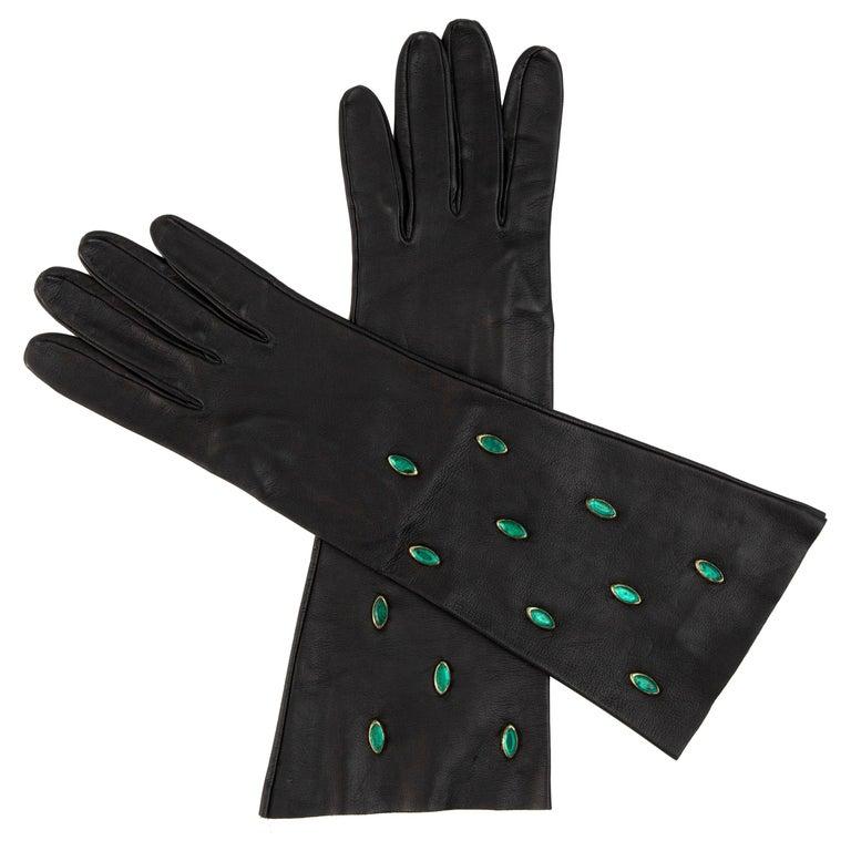 Yves Saint Laurent Black Leather & Appliquéd Green Glass Gloves, Circa: 1980's For Sale