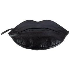 YVES SAINT LAURENT black leather DALI LIP ZIP POUCH Clutch Bag