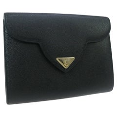 Yves Saint Laurent Black Leather Gold Logo Envelope Evening Flap Clutch Bag