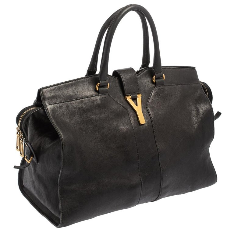 Yves Saint Laurent Black Leather Large Cabas Chyc Tote In Good Condition For Sale In Dubai, Al Qouz 2