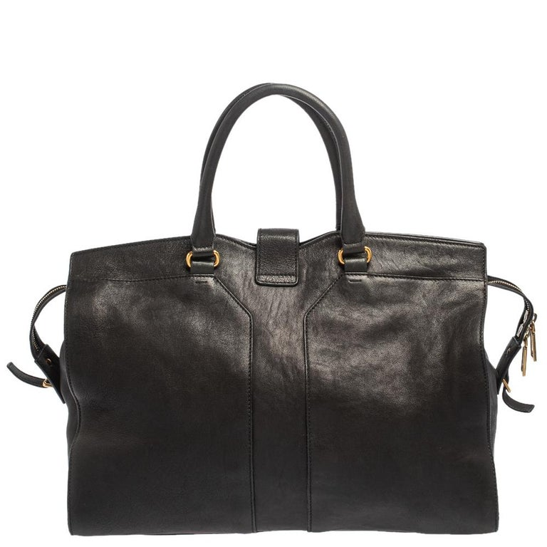Women's Yves Saint Laurent Black Leather Large Cabas Chyc Tote For Sale
