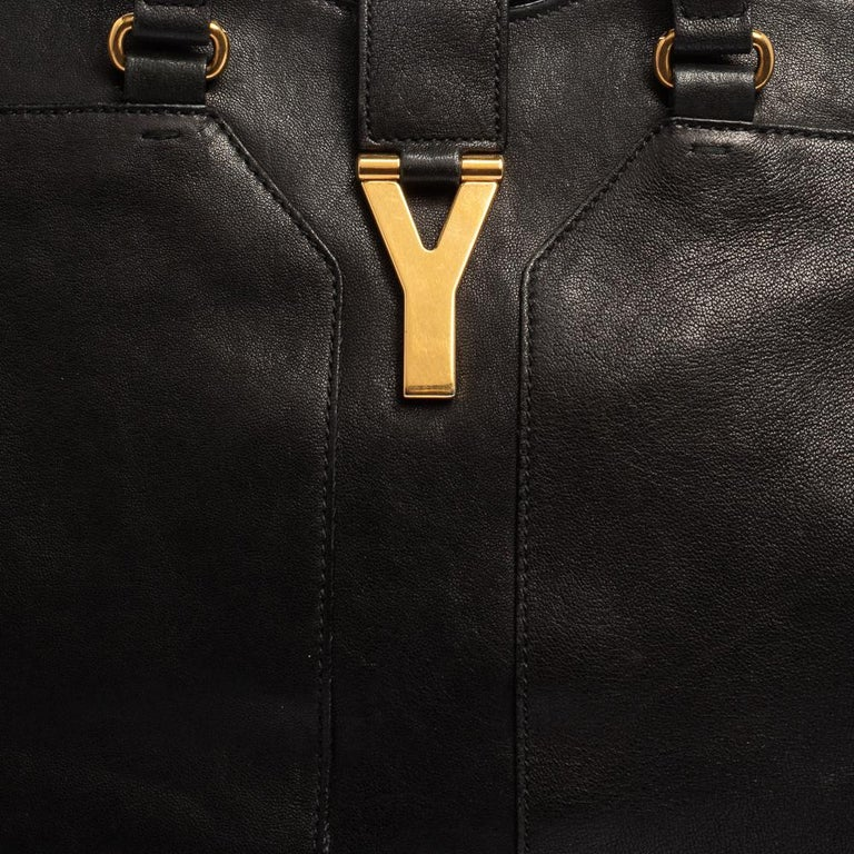 Yves Saint Laurent Black Leather Large Cabas Chyc Tote For Sale 4