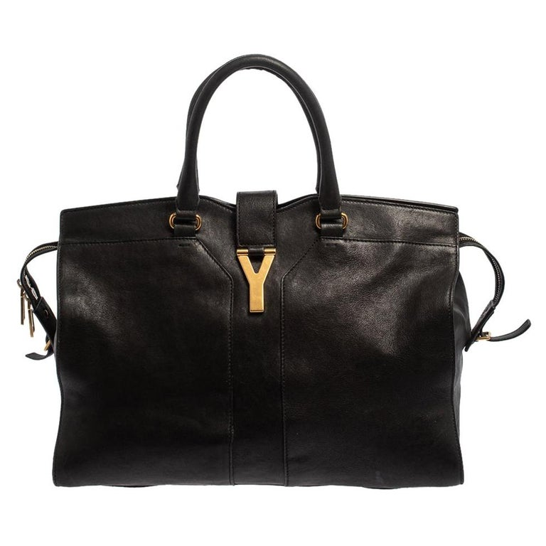 Yves Saint Laurent Black Leather Large Cabas Chyc Tote For Sale