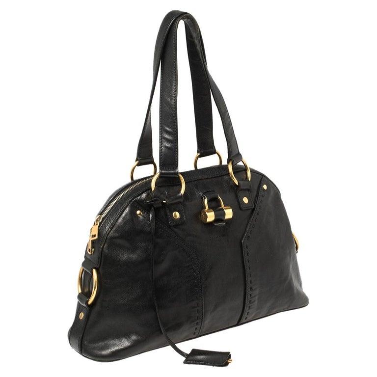 Yves Saint Laurent Black Leather Medium Muse Satchel In Good Condition For Sale In Dubai, Al Qouz 2