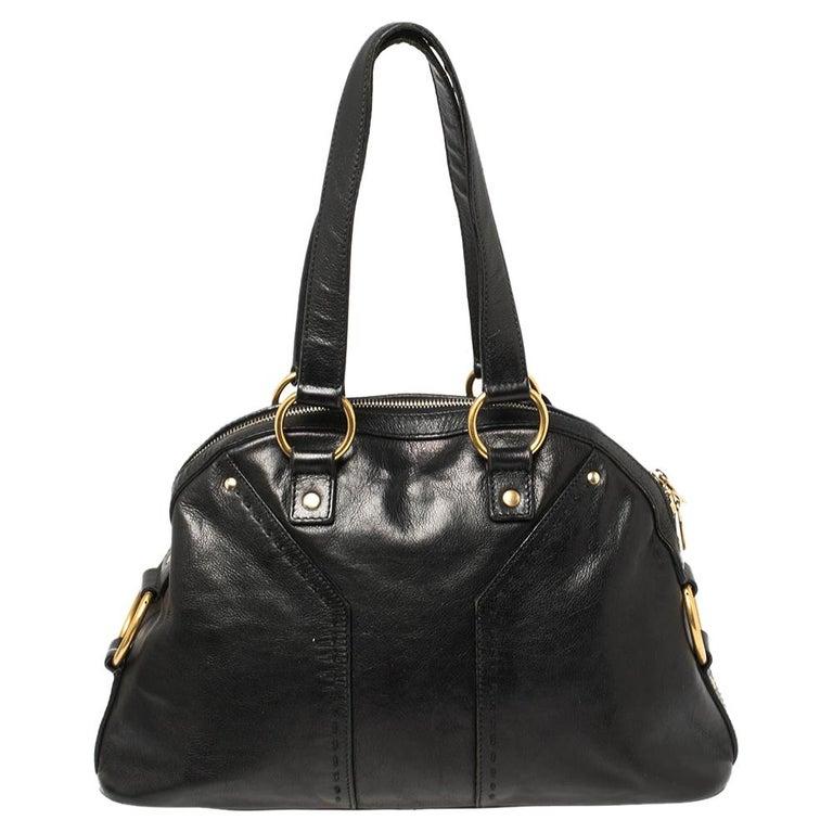 Women's Yves Saint Laurent Black Leather Medium Muse Satchel For Sale