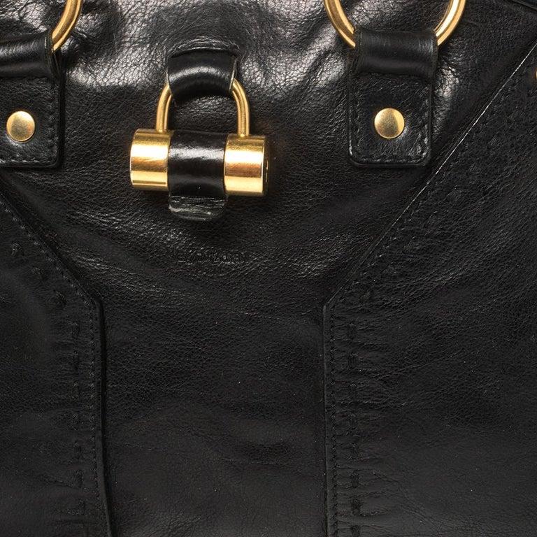 Yves Saint Laurent Black Leather Medium Muse Satchel For Sale 2