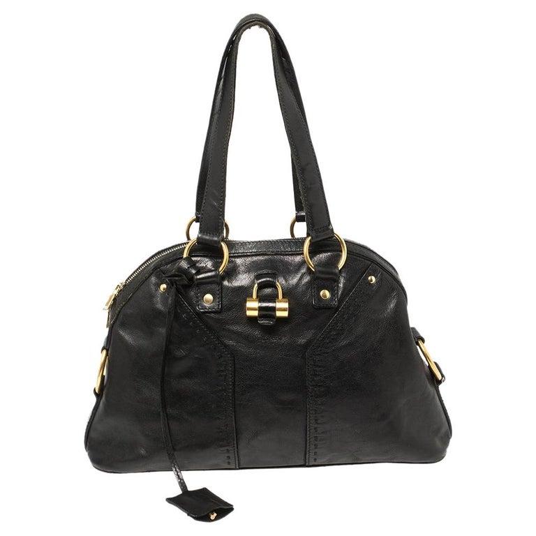 Yves Saint Laurent Black Leather Medium Muse Satchel For Sale