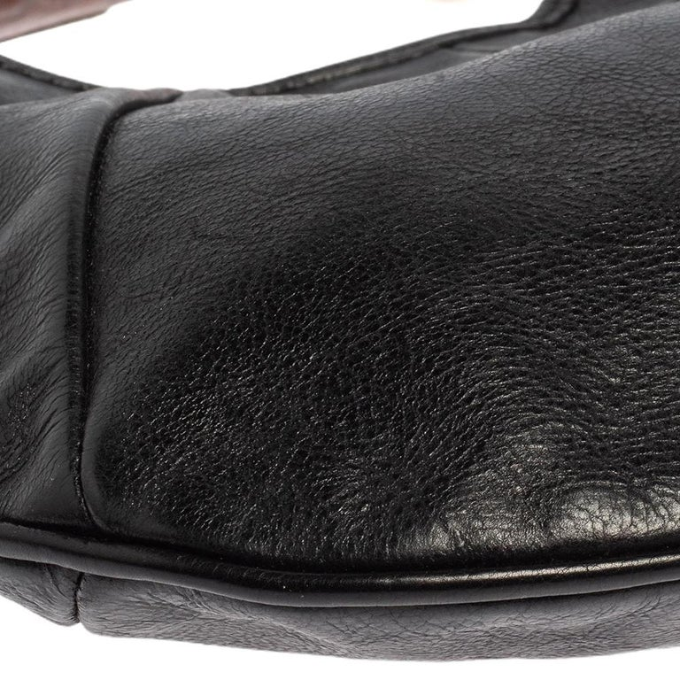 Yves Saint Laurent Black Leather Mini Mombasa Hobo For Sale 6