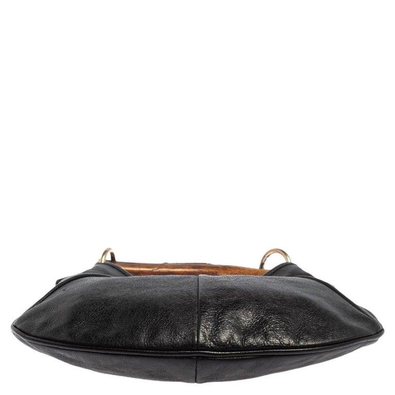 Yves Saint Laurent Black Leather Mini Mombasa Hobo For Sale 7
