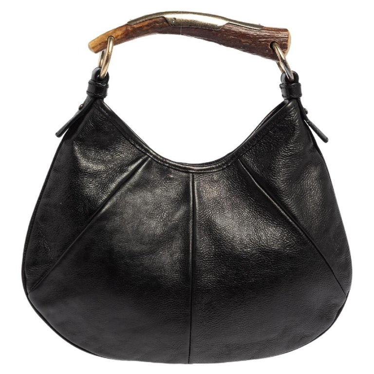 Yves Saint Laurent Black Leather Mini Mombasa Hobo In Good Condition For Sale In Dubai, Al Qouz 2