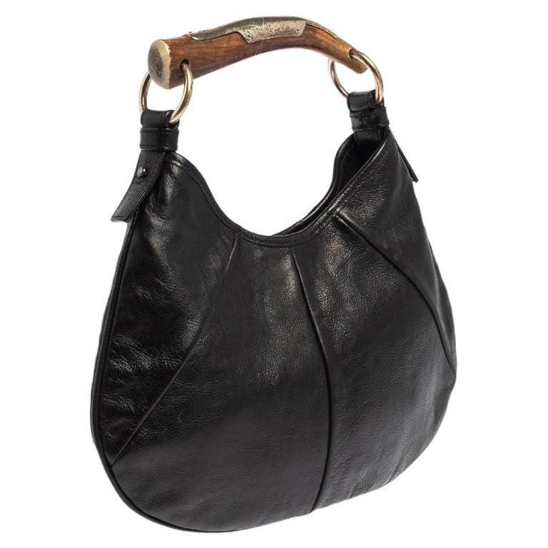 Women's Yves Saint Laurent Black Leather Mini Mombasa Hobo For Sale