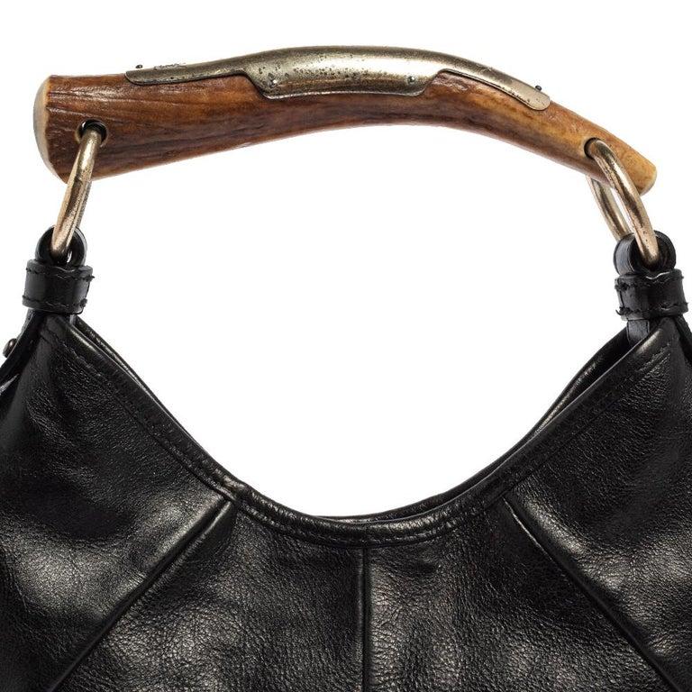 Yves Saint Laurent Black Leather Mini Mombasa Hobo For Sale 1