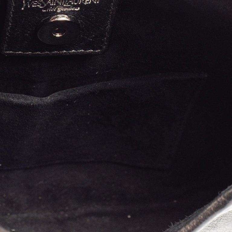 Yves Saint Laurent Black Leather Mini Mombasa Hobo For Sale 2