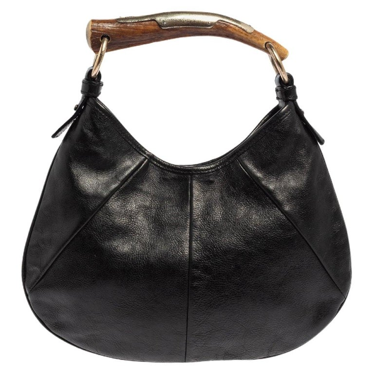 Yves Saint Laurent Black Leather Mini Mombasa Hobo For Sale