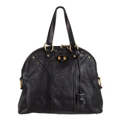 YVES SAINT LAURENT black leather MUSE LARGE Shoulder Bag