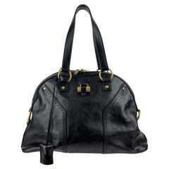 Yves Saint Laurent Black Leather Muse Tote Shoulder Bag