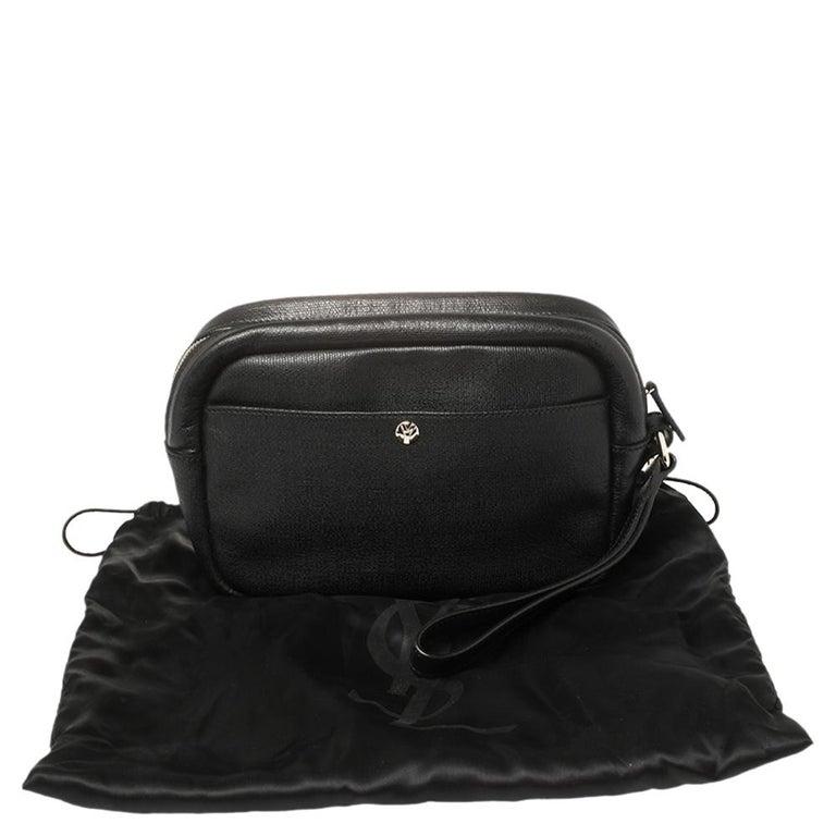 Yves Saint Laurent Black Leather Pouch For Sale 3