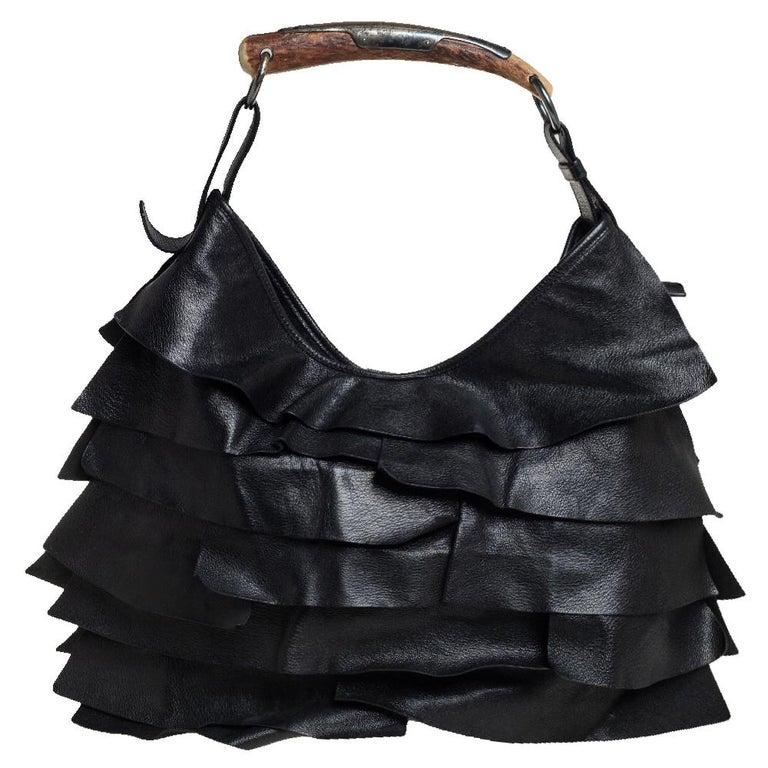Yves Saint Laurent Black Leather St. Tropez Mombasa Hobo In Good Condition For Sale In Dubai, Al Qouz 2