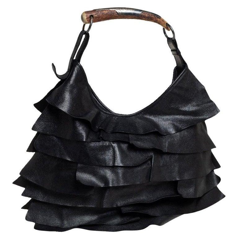Yves Saint Laurent Black Leather St. Tropez Mombasa Hobo For Sale