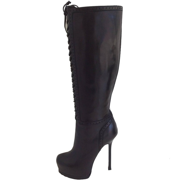 a26748a3fa53 Yves Saint Laurent Black Leather Tribute Lace Up Platform Boots For Sale