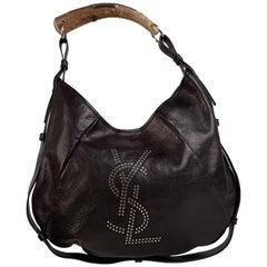 Yves Saint Laurent Black Leather Ysl Studded Mombasa Hobo Bag