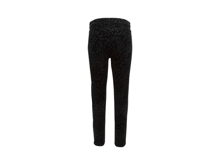 Yves Saint Laurent Black leopard Velvet Flock Saint Laurent Pants In Excellent Condition For Sale In New York, NY