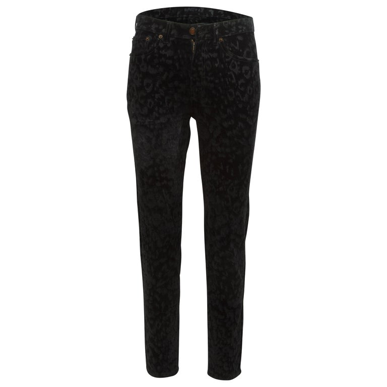 Yves Saint Laurent Black leopard Velvet Flock Saint Laurent Pants For Sale