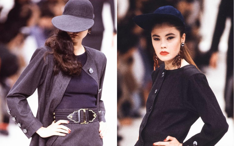 Yves Saint Laurent black linen cap with extra long organza visor, ss 1991 In Excellent Condition For Sale In London, GB