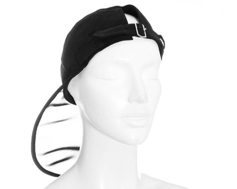 Women's Yves Saint Laurent black linen cap with extra long organza visor, ss 1991 For Sale
