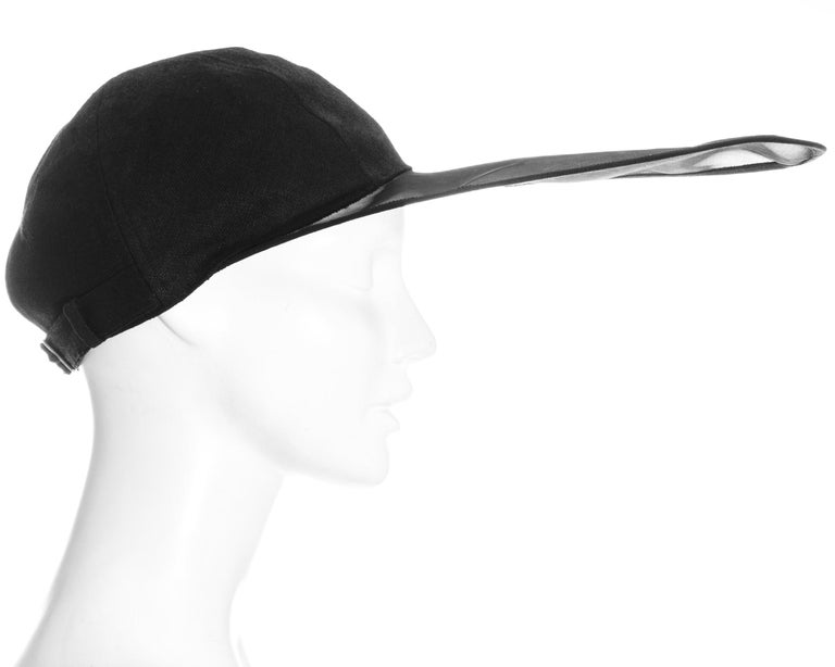 Yves Saint Laurent black linen cap with extra long organza visor, ss 1991 For Sale 1
