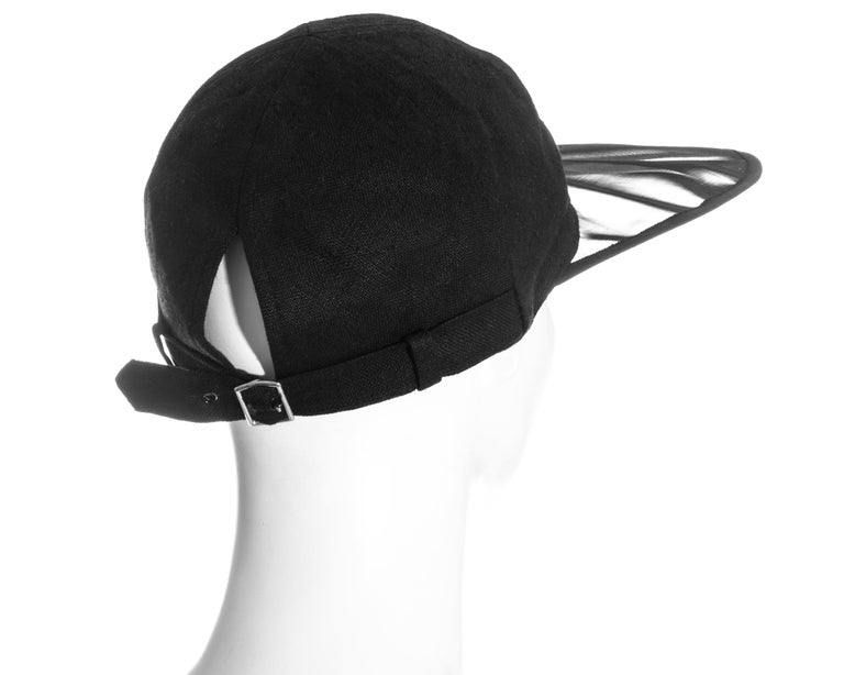 Yves Saint Laurent black linen cap with extra long organza visor, ss 1991 For Sale 2