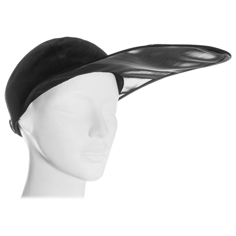 Yves Saint Laurent black linen cap with extra long organza visor, ss 1991 For Sale
