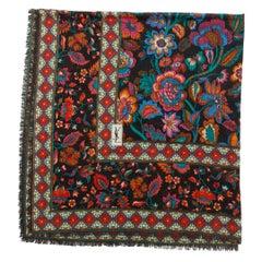 Yves Saint Laurent Black & Multicolor Floral Print Scarf