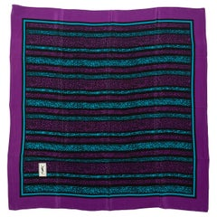 Yves Saint Laurent Black & Multicolor Silk Scarf