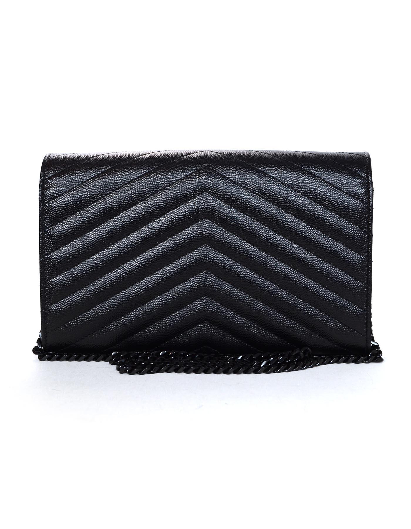 72d8dfabb22f Yves Saint Laurent Black On Black Caviar Leather Grain De Poudre Matelasse  WOC For Sale at 1stdibs