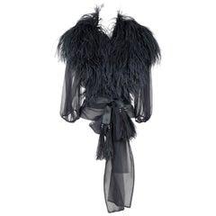 Yves Saint Laurent Black Ostrich Feather Chiffon Wrap Blouse, circa 1969
