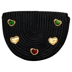 Yves saint Laurent Black Passementerie Gripoix Hearts Clutch/ Belt Bag YSL