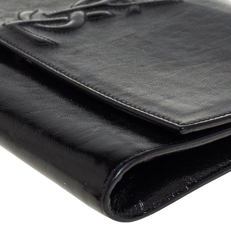 Yves Saint Laurent Black Patent Leather Belle De Jour Flap Clutch For Sale 6