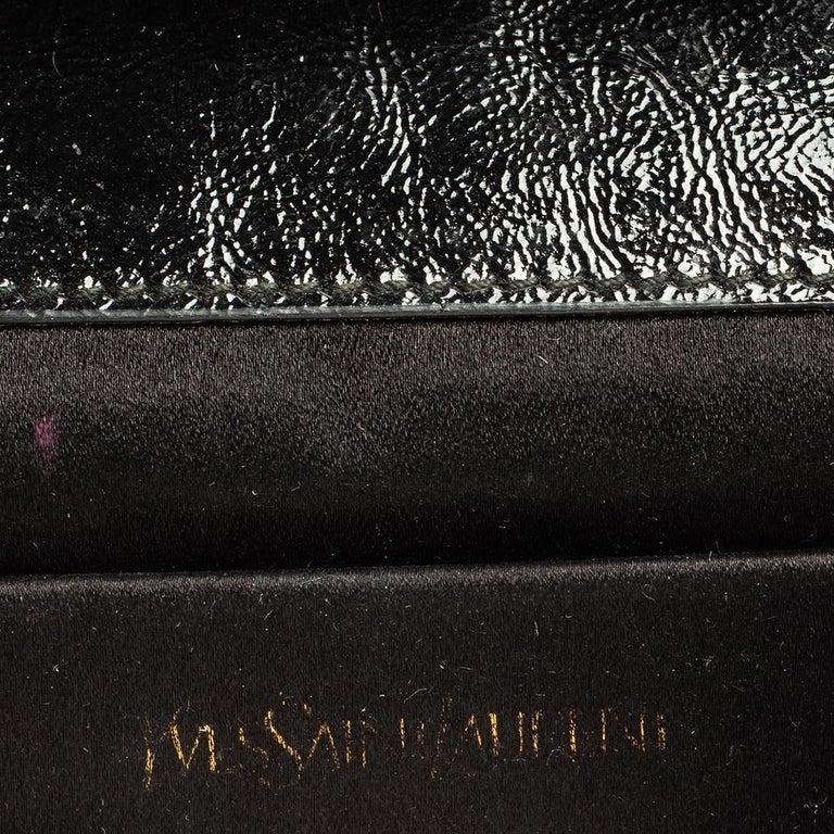 Women's Yves Saint Laurent Black Patent Leather Belle De Jour Flap Clutch For Sale