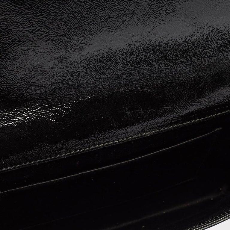 Yves Saint Laurent Black Patent Leather Belle De Jour Flap Clutch For Sale 1