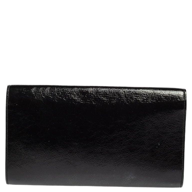 Yves Saint Laurent Black Patent Leather Belle De Jour Flap Clutch For Sale 2