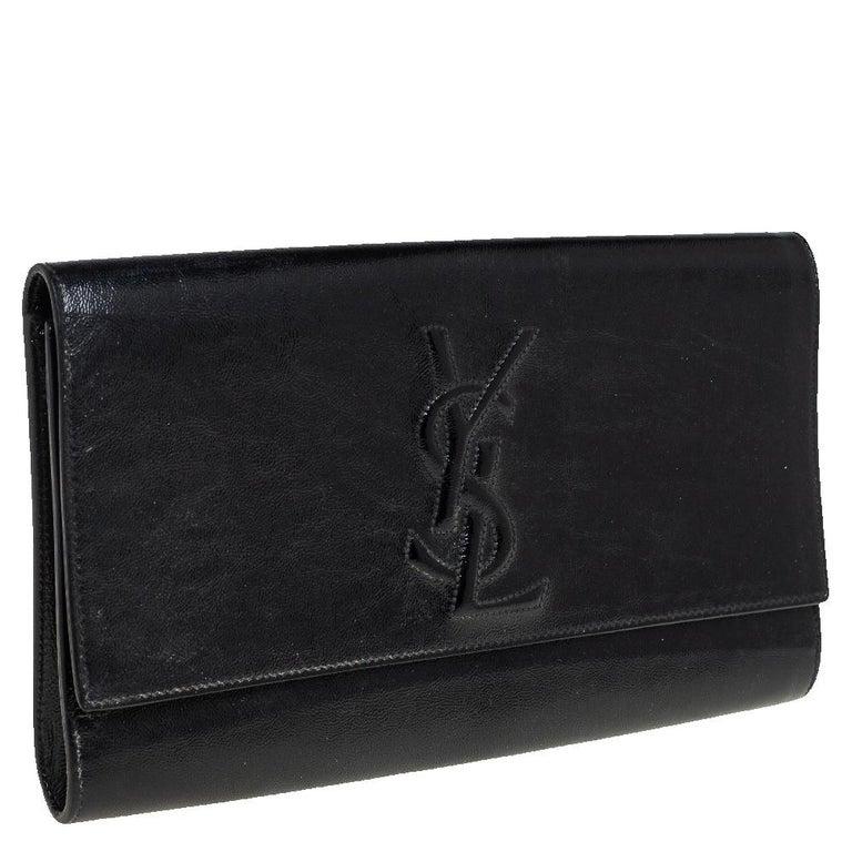 Yves Saint Laurent Black Patent Leather Belle De Jour Flap Clutch For Sale 3