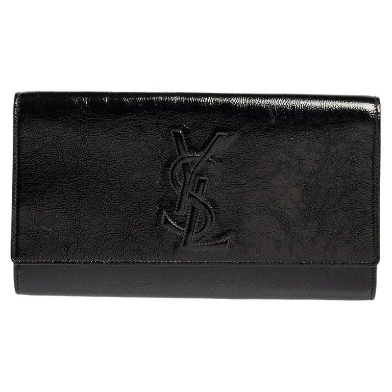 Yves Saint Laurent Black Patent Leather Belle De Jour Flap Clutch For Sale