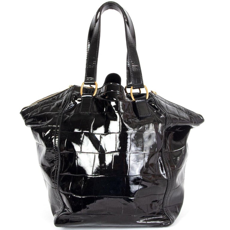 Black YVES SAINT LAURENT black patent leather DOWNTWON MEDIUM CROCO TOTE Bag For Sale