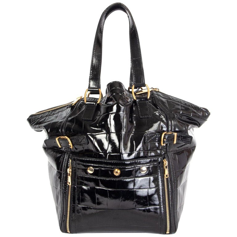 YVES SAINT LAURENT black patent leather DOWNTWON MEDIUM CROCO TOTE Bag For Sale