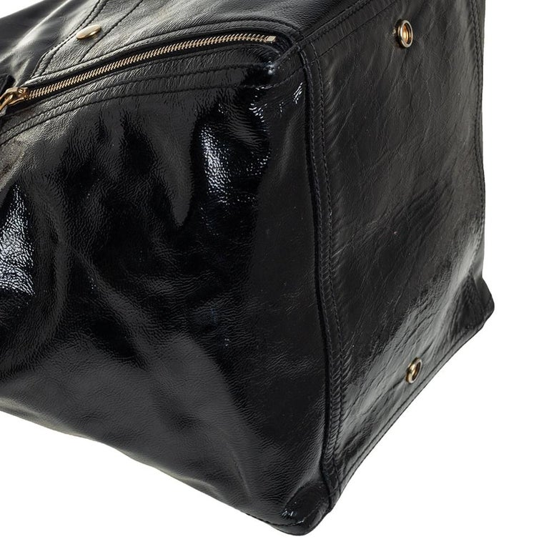 Yves Saint Laurent Black Patent Leather Large Downtown Tote For Sale 6